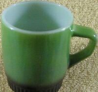 Anchor Hocking Fire King Coffee Cup/Mug Green/Black Ribbed Bottom D Handle USA
