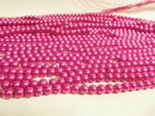 pcs x Glass Pearl 8mm Round Beads #91A Mid Cerise 100