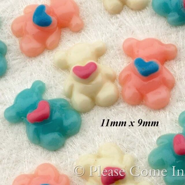 Kawaii Flat Back Resin Mini Teddy with Heart Cabochon Decoden Charm
