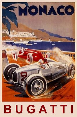 Bugatti Best Fast Car in the World France French Vintage Poster Repro FREE S//H