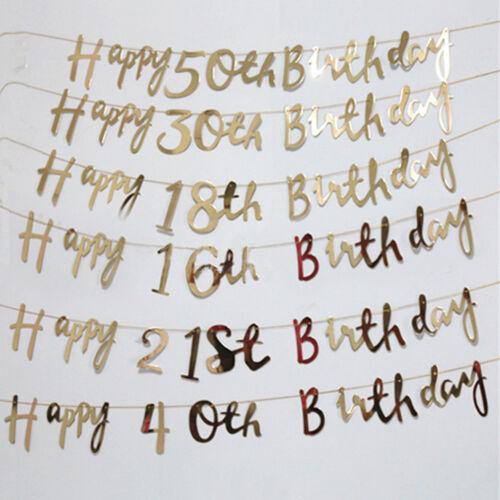 Fashion Happy Birthday Bunting Banner 18th 21st 30th 50th Party Decor Silver NE8