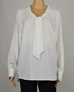 5a03580c Details about Kensie Womens White Long Sleeve Tie Neck High-Low Crepe  Blouse Top L