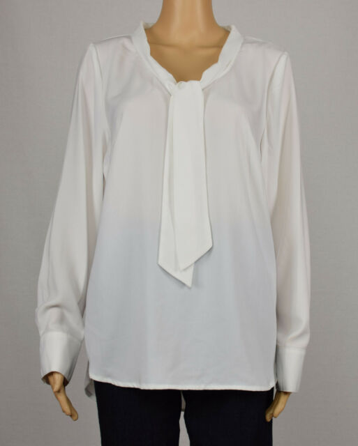 7e154c7a56fb7 Kensie Womens White Long Sleeve Tie Neck High-Low Crepe Blouse Top L