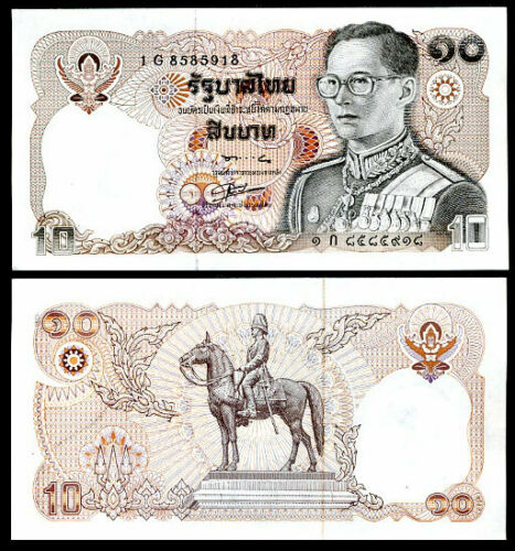 THAILAND 10 BAHT 1980 P 87 SIGN 56 UNC