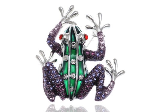 Ruby Eyed Alloy Rhinestone Frog Prince Green Body Silver Feet Pin Brooch Jewelry
