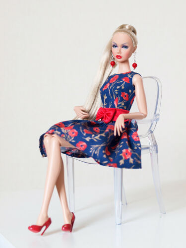 Nu face by Olgaomi Indigo and red poppy/'s dress for Poppy Parker