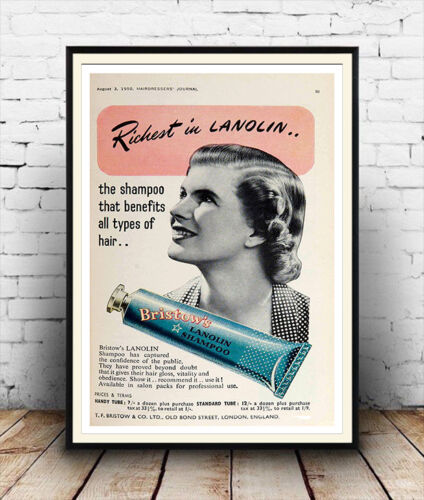 Poster reproduction. Bristow/'s Lanolin Vintage Hair care advert