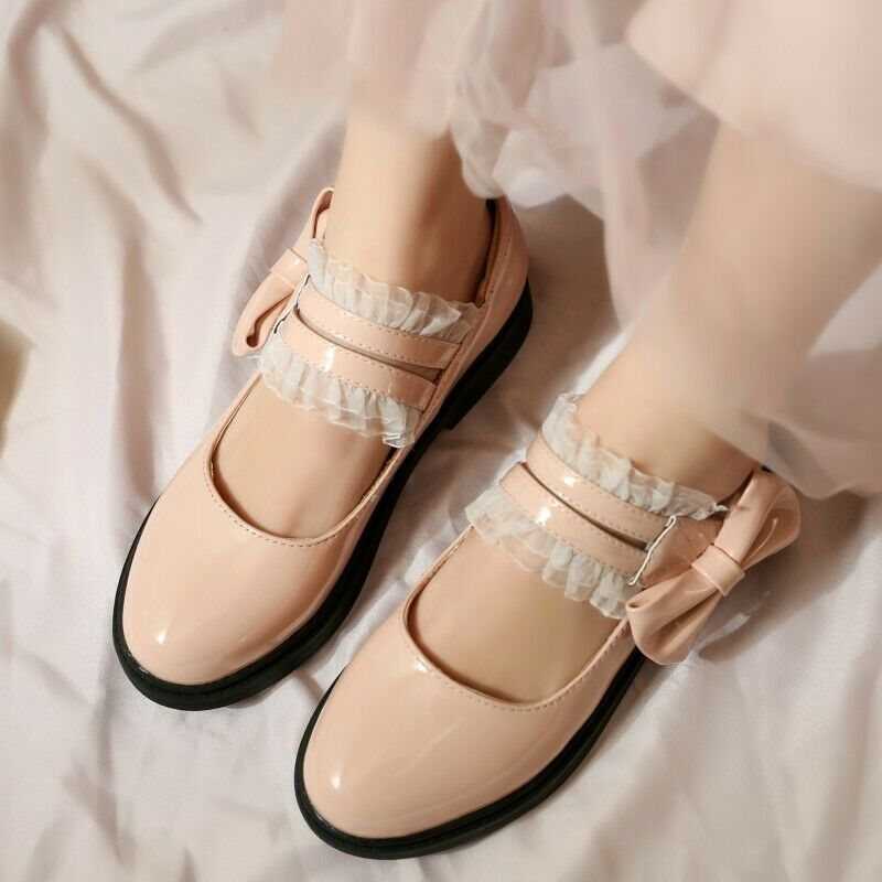 Sweet Bows Lolita Faux Leather Mary Jane Shoes Girls Casual College Flat Pumps