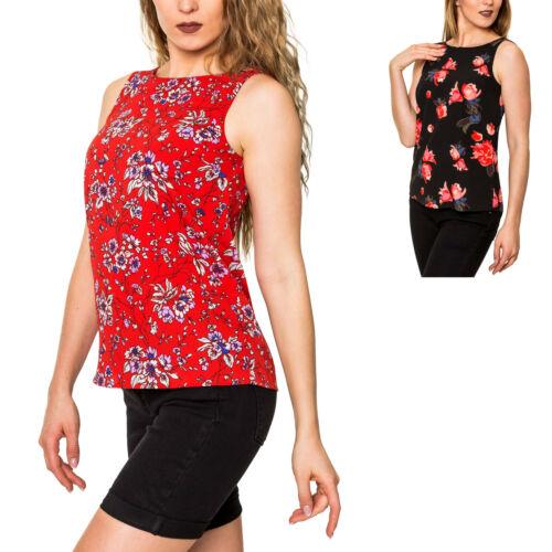 Pieces Damen Blusentop Bluse Ohne Arm Tunika Blusenshirt Top mit Print