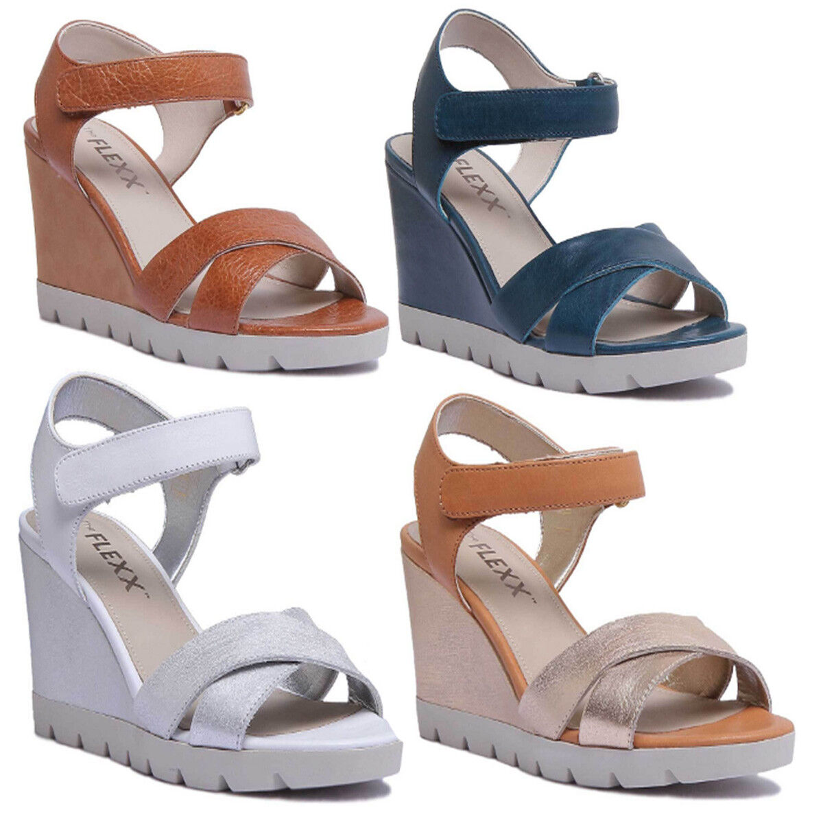 The Flexx Lot Off Women Leather Strappy Wedge Sandals In Silver Size UK 3 - 8