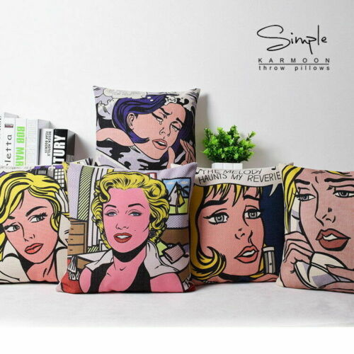 "New Art Painting Cotton Linen Pillow Case Roy Lichtenstein Cushion Cover 18/"""