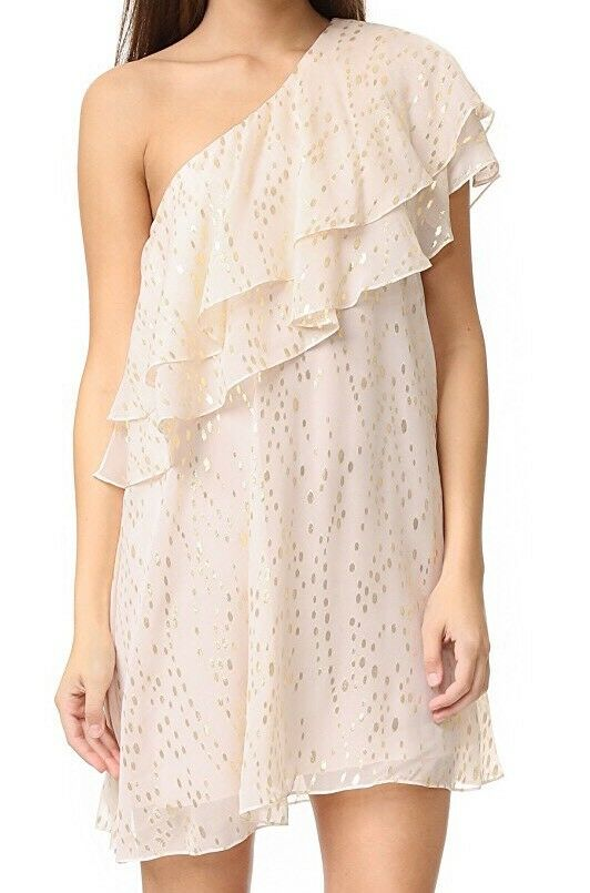 Rachel Zoe One Shoulder Ruffle Dress Size 6 425    f50d9a