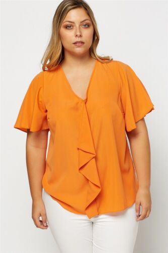Womens Plus Size Coral Orange Flared Sleeve Frilled Panel Tunic Top Angel Sleeve