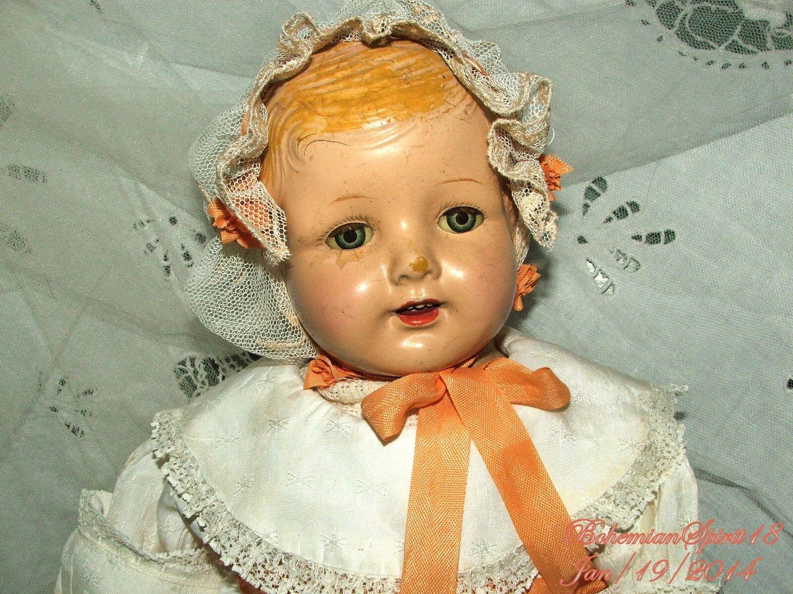 Antiguo composición Sleepy Ojos Boca Abierta Vestido vieja doble articulado Girl Doll