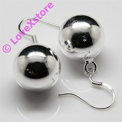 925 Sterling Silver Plated Single Shiny Pearl Earring Dangle Earrings Free Ship