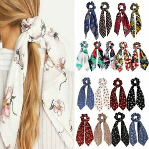 Floral-Print-Ponytail-Scarf-Bow-Tie-Elastic-Hair-Rope-Scrunchies-Ribbon-Hairband