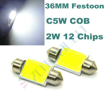 2x Bright COB LED 2W White Festoon 38mm 39mm INTERIOR Dome Reading 239 272 Light