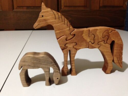 Stained Wooden Horse Mare /& Foal Handmade -7 Pieces
