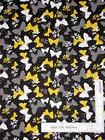 Butterflies Butterfly Modern Black Yellow White Cotton Fabric Joanns Half-yard
