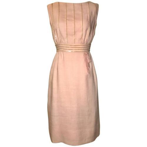 Peggy Hunt VTG 1960s Pink Linen Sleeveless Shift D