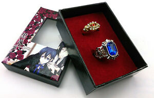 Cosplay Black butler Kuroshitsuji Alois Trancy Ciel Phantomhive 2 Ring Set & Box