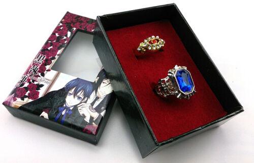 Cosplay Black butler Kuroshitsuji Alois Trancy Ciel Phantomhive 2 Ring Set /& Box