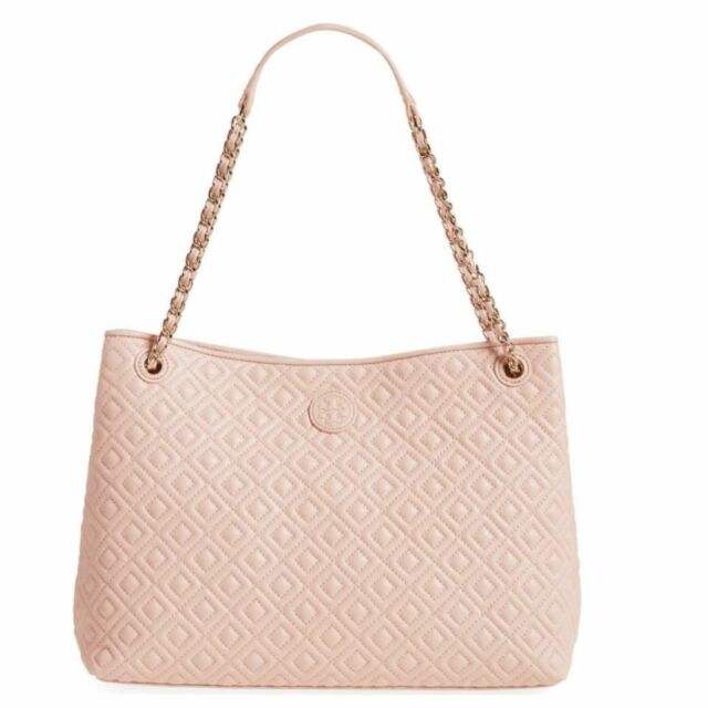 Tory Burch Marion Quilted Leather Shoulder Bag Purse Light Oak Pink Zip Tote Nwt