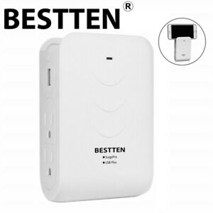 BESTTEN-2-USB-Ports-4-Side-Entry-Outlet-Wall-Charger-Surge-Protector-ETL-White