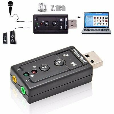 Virtual 7.1 Channel 3D to USB 2.0 External Balanced Audio PC Sound Card Adapter