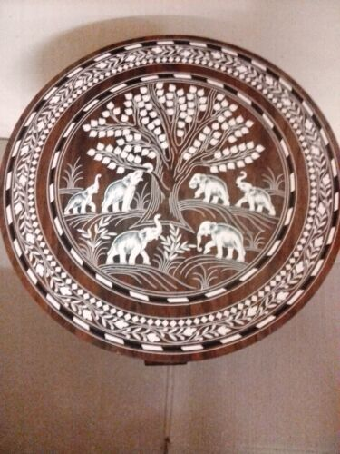 Handmade Table Elephant Carved Inlaid Work Coffee Round Table Rosewood Foldable