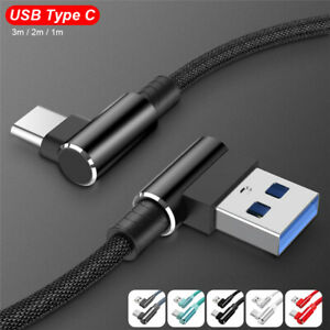 Type C Cable 90° Right Angle Fast Charging Data Sync Cable For Samsung S8 S9