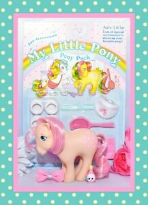 My-Little-Pony-MLP-G1-Vtg-1982-Peachy-amp-MOC-Sports-Tennis-Pack-Pony-Wear