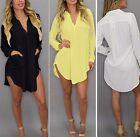 Neu Damen Oversize Tunika Bluse Longshirt Damen Kleid Pulli S M L