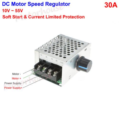 DC 10 ~ 55V 24V 48V 30A PWM DC Motor Velocidad Controlador Regulador de Soft Start Switch