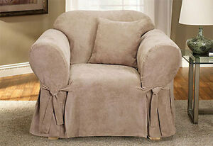 Sure Fit Soft Suede 1 Piece Chair Slipcover Box Cushion in Beige