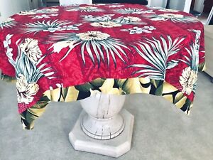 Vintage-HAWAIIAN-TROPICAL-TABLECLOTH-THROW-Double-Sided-Barkcloth-Hibiscus