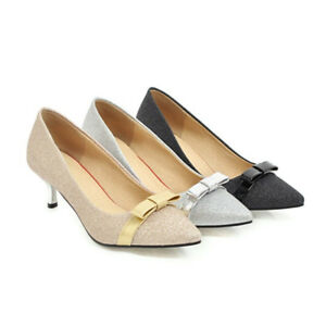 Womens-Bows-Party-Sequins-Kitten-Heels-Pointed-Toe-Pumps-Shoes-Sandals-Slip-on