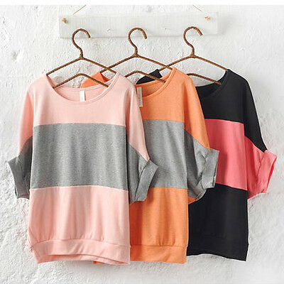 Womens Mode Batwing Cotton Short Sleeve Hot Casual T shirt Striped Blouse Tops E