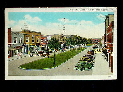1937 Stores Business District Kissimmee FL post card