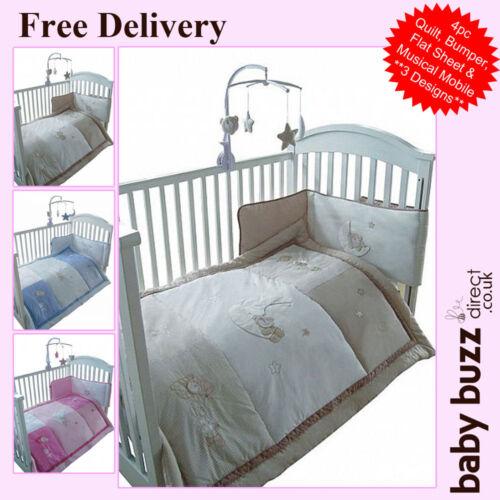4 pcs Snuggle bébé lit Bébé Couette et pare-chocs set 3 designs disponibles
