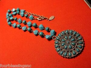 """VINTAGE ROBERT ROSE 18"""" TURQUOISE BEADED PENDANT NECKLACE-SILVER TONE-CHUNKY"""