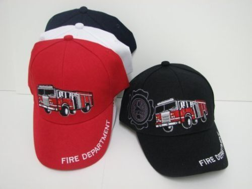 Toddler Kids 3D Embroidered FIRE TRUCK Hat Fire Engine Ball Cap Many Colors New!