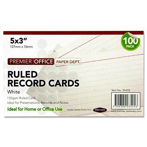 White 5 x 3 mm Record Card Pack of 100