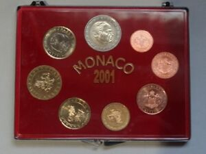 Monaco-2001-1-Cent-2-Euro-in-Box-Rainier-III-Unc