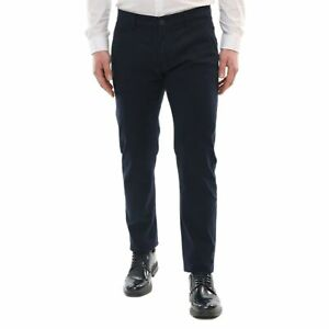 Pantalone-Uomo-Cotone-Blu-Estivo-Slim-fit-Elegante-Chino-Casual-Tasca-America
