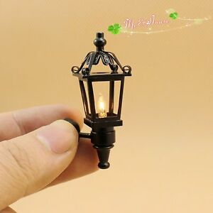 Image Is Loading 1 12 Dollhouse Miniatures Black Coach Lamp 12