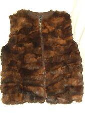 ROCHELLE CA Dk Brown Rabbit Fur VEST - Sz L - EUC