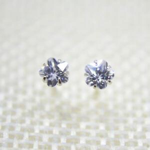 Solid Sterling 925 Silver Flower Stud Earrings