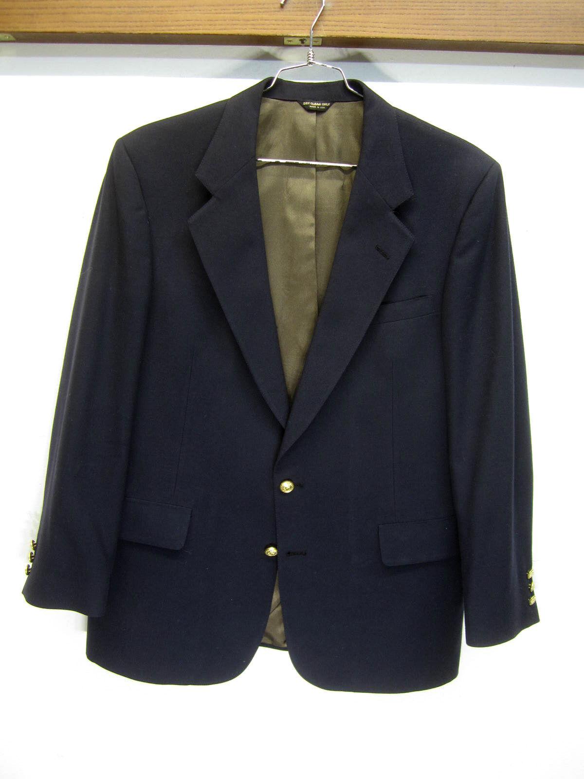 Vtg Saks Fifth Avenue Blazer Sport Coat navy 100% wool 2 btn sz 42R USA made EUC