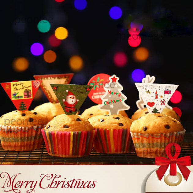 50x merry xmas cupcake cake toppers decoration party